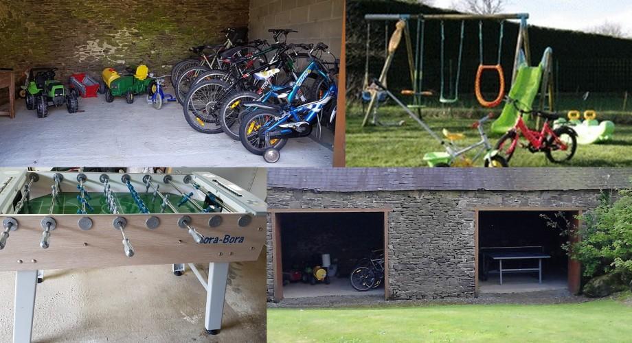 Jeux, vélos, balançoire et babyfoot